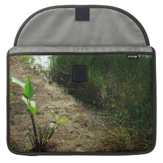 Edge of pond reed and single plant MacBook pro sleeve