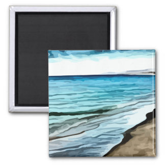 edge of the beach painting 2 inch square magnet