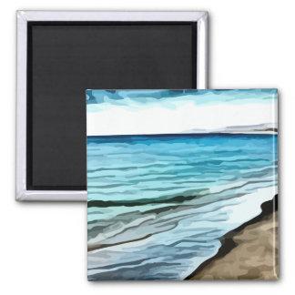 edge of the beach painting fridge magnet