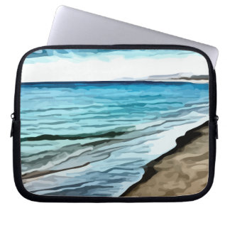 edge of the beach painting laptop sleeve