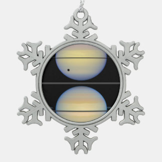Edge-On View of Saturn's Rings Snowflake Pewter Christmas Ornament