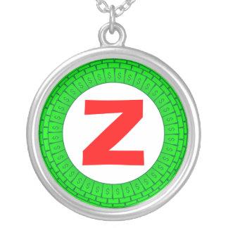 Edged Monogram 010 Round Pendant Necklace