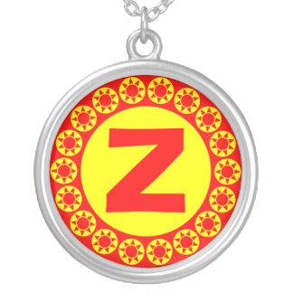 Edged Monogram 012 Round Pendant Necklace