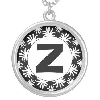 Edged Monogram 017 Round Pendant Necklace