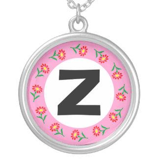 Edged Monogram 020 Round Pendant Necklace