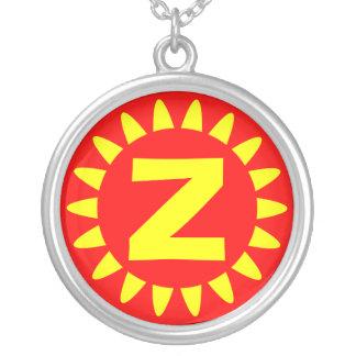 Edged Monogram 03 Round Pendant Necklace