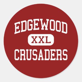 Edgewood - cruzados - alto - Madison Wisconsin Pegatina Redonda