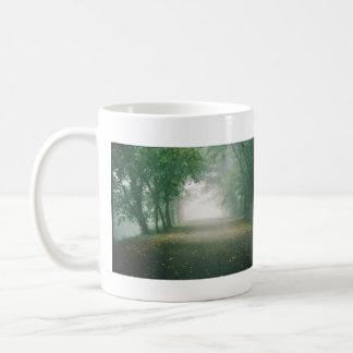 edgewood park trail into fog double-sided coffee mug