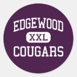 Edgewood - pumas - High School secundaria - Trento Pegatinas Redondas