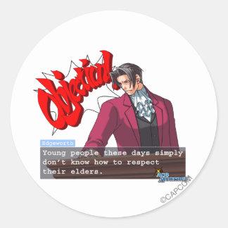 "Edgeworth - ""Respect"" Classic Round Sticker"