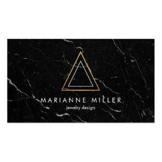 Edgy and Modern Copper Triangle Logo Black Marble Business Card