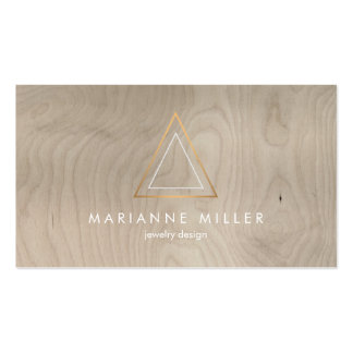 Edgy and Modern Copper Triangle Logo on Beige Wood Business Card