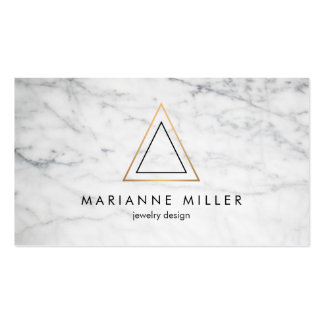 Edgy and Modern Copper Triangle Logo White Marble Business Card