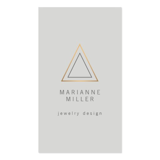 Edgy and Modern Rose Gold Triangle Logo on Lt Gray Business Card Templates