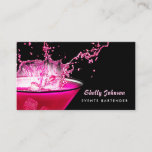"""Edgy Black and Pink Splash Events Bartender Business Card<br><div class=""""desc"""">Make a splash with these edgy hot pink and black events catering and bartender business cards featuring a martini glass with hot pink ice cubes making a splash. Personalize this modern girly design by adding your specialties such as weddings and special events.</div>"""