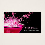 Edgy Black And Pink Splash Events Bartender Business Card at Zazzle