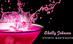 Pink business cards zazzle edgy black and pink splash events bartender business card reheart Images