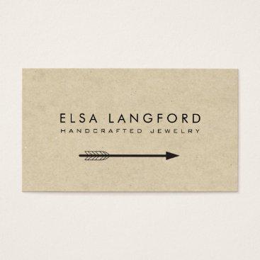 Professional Business Edgy Bohemian Arrow on Tan Cardboard Business Card