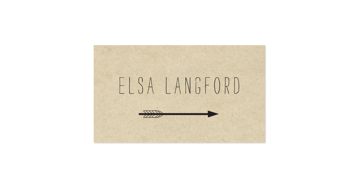 Edgy bohemian arrow with handwritten text business card for Edgy business cards