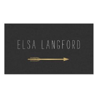 Edgy Bohemian Faux Gold Arrow Handwritten Text Business Card