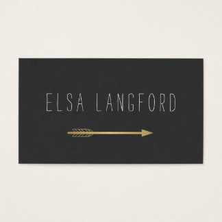 Edgy Bohemian Faux Gold Arrow Handwritten Text Business Card