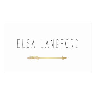 Edgy Bohemian Faux Gold Arrow Handwritten Text II Double-Sided Standard Business Cards (Pack Of 100)