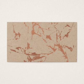 Edgy Cracked Rose Gold Marble on Kraft Business Card