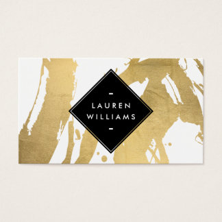 Edgy Faux Gold Brushstrokes Business Card