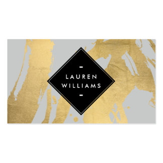 Edgy Faux Gold Brushstrokes on Gray Business Card