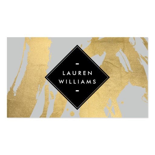 Edgy faux gold brushstrokes on gray business card zazzle for Edgy business cards