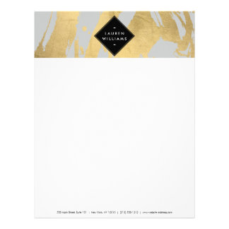 Edgy Faux Gold Brushstrokes on Gray Letterhead