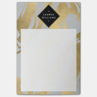 Edgy Faux Gold Brushstrokes on Gray Post-it® Notes