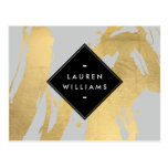 Edgy Faux Gold Brushstrokes on Gray Postcard