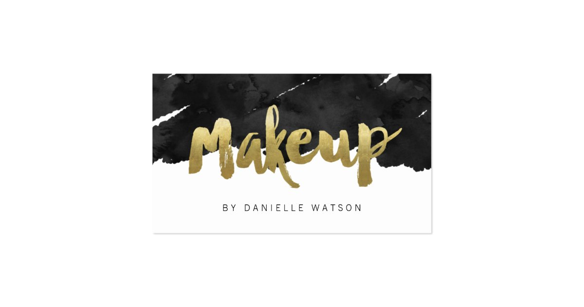 Edgy faux gold foil makeup artist business card zazzle for Edgy business cards