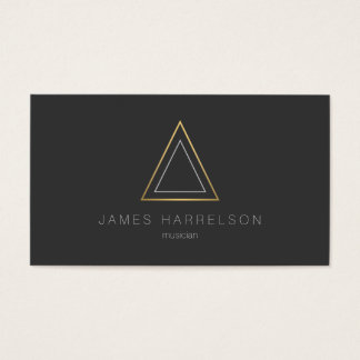 Edgy Faux Gold Triangle Logo on Dark Gray Business Card