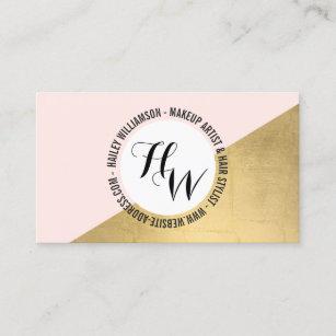 Edgy business cards templates zazzle edgy geometric circle monogram logo goldpink business card colourmoves