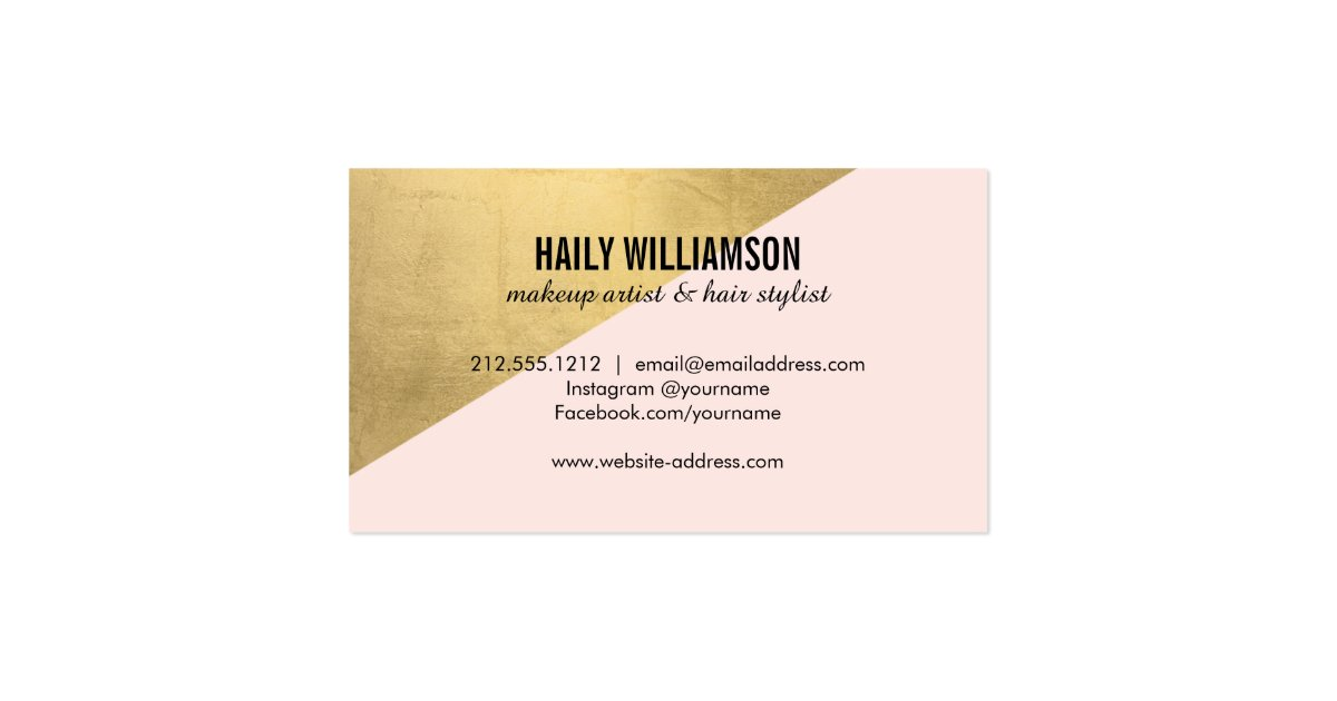 Edgy geometric circle monogram logo gold pink business for Edgy business cards