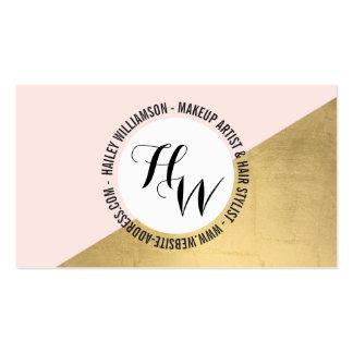 Edgy Geometric Circle Monogram Logo Gold/Pink Business Card