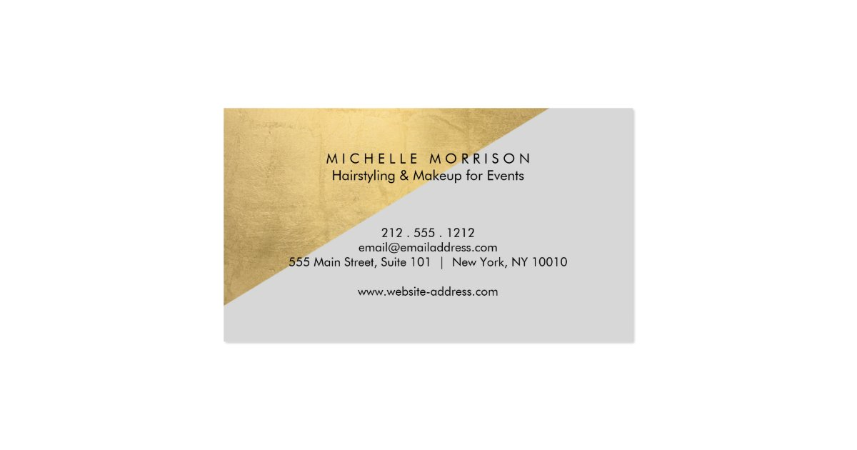 Edgy geometric faux gold foil and gray color block for Edgy business cards