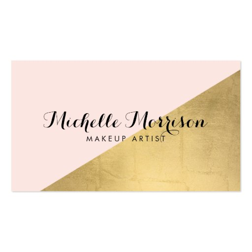 Edgy geometric faux gold foil and pink color block for Edgy business cards