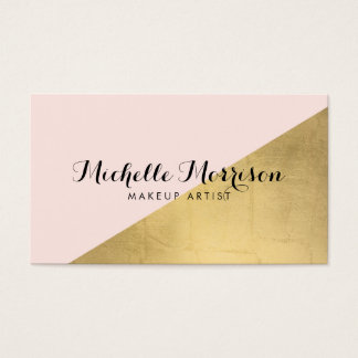 Edgy Geometric Faux Gold Foil and Pink Color Block Business Card