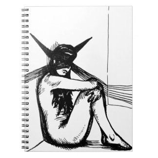 Edgy Graphic Tattoo Art of Demonic Woman in Shadow Notebook