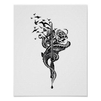 Edgy Lace Pen, Rose & Birds illustration Poster