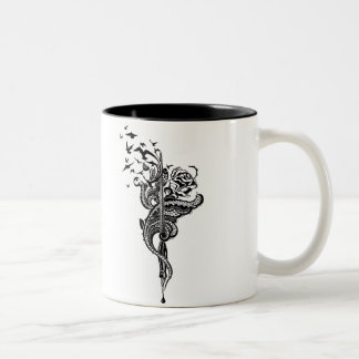 Edgy Lace Pen, Rose & Birds illustration Two-Tone Coffee Mug