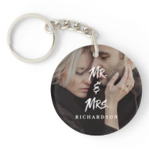 Edgy Modern Typography   Mr and Mrs with Photo Keychain