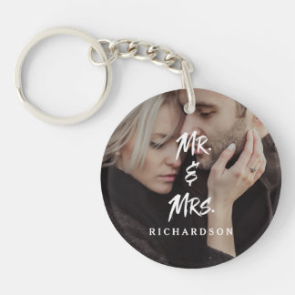 Edgy Modern Typography | Mr and Mrs with Photo Keychain
