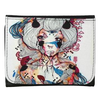 Edgy Pin up Girl Dark Rocker Geisha Watercolor Trifold Wallet