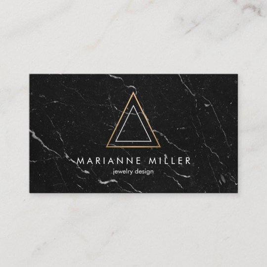 Edgy Rose Gold Triangle Logo Black Marble Business Card Zazzlecom
