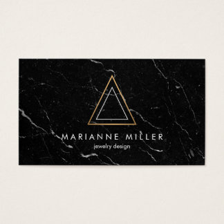Edgy Rose Gold Triangle Logo Black Marble Business Card