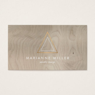 Edgy Rose Gold Triangle Logo on Beige Wood Business Card